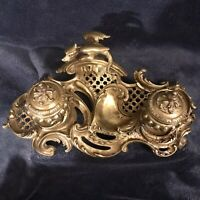 """Scarce Antique Victorian Brass Double Inkwell Circa 1870-1890 12""""D"""
