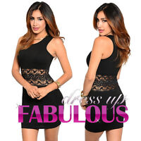 SEXY LACE MINI DRESS PARTY NIGHT CLUB EVENING GOING OUT Size 2 4 6 8 10 XS S M