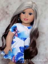 Custom American Girl Doll Grace Thomas Blue Eyes Blonde to Brown Ombre Wig OOAK