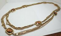 Vtg SARAH COV Topaz Glass Multi Strand Necklace Bezel Set Long GT Coventry