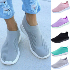 Womens Breathable Trainers Sneakers Mesh Comfy Slip On Casual Sport Gym Shoes UK