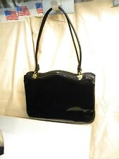 Vintage Black Patent Leather Cara Handbag With Red Vinyl Lining Gold Clasp