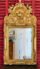 Somptueux Grand MIROIR RÉGENCE D'époque XVIIIe en bois doré, fronton monumental