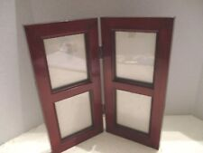 """Hinged Standing Plastic Cherry Wood Look Frame for 4 - 2.5"""" x 3"""" Photos w/Glass"""