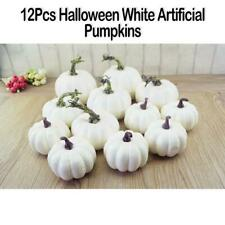 12Pcs Halloween Artificial White Pumpkins Harvest Fall Thanksgiving Decor