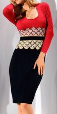 Jerseykleid Gr.21 42 GLÖÖCKLER schwarz rot gold weiß gelb Glöckler Kleid  NP109€