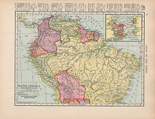 1909 MAP ~ SOUTH AMERICA NORTHERN PART ~ INSET RIO DE JANEIRO BRAZIL BOLIVIA