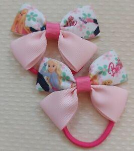 "3"" Handmade Pair of Barbie Grosgrain Ribbon Hair Bow Bobbles"