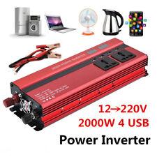 Universal 2000W Car LED Power Inverter Converter DC 12V To AC 220V 4 USB Charger