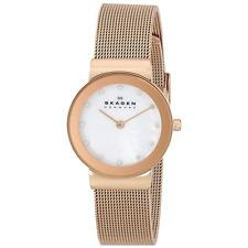 Skagen 358SRRD Lady's White MOP Dial Rose Gold Steel Crystal Watch