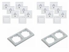 18-tlg. UP Spar-Set 4 x Schalter + 12 x Steckdosen + 2 x 2-fach Rahmen weiß
