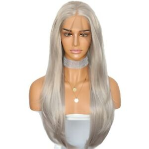24inch Synthetic hair Lace front wigs Silver grey Natural Straight Full Head
