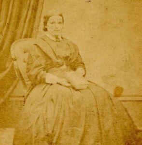 Antique CDV Carte De Visite lady seated with book G A Green Birmingham #28
