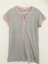 💜 R.M. WILLIAMS Women's Pink White Black Strip Shirt Tshirt Too Knit Sz 10 S M