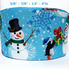 "Grosgrain Ribbon 5/8"", 7/8"", 1.5"", 3"" Christmas Snowman Snowflakes blue Printed"