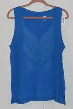 OLD NAVY ROYAL BLUE PRINT LINEN BLEND THE BOYFRIEND TANK TOP - SIZE MEDIUM