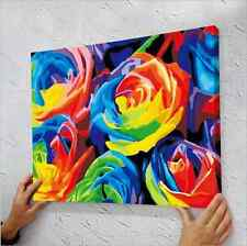 """16"""" x 20"""" DIY Paint By Number Kit Acrylic Painting On Canvas - Rainbow Rose"""