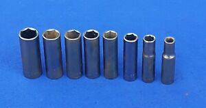 "Vtg Craftsman USA 8 Pc 3/8"" Drive Metric 6 Pt. Deep Socket Set ""G2"" 9mm-18 mm"