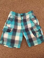 Boys Blue Checked Next Shorts Size 9-12 Months Summer Beach Holiday B1