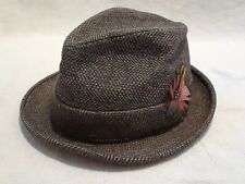 Vintage Larchmont Fedora Feathered Wool? Plaid Size 7 1/8