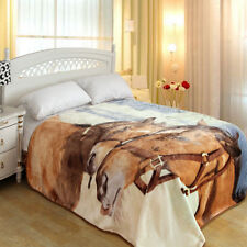 """ShiGo Heavy Weight Super Soft Luxury Twin  Blanket 60""""X80""""-Mother horse and baby"""