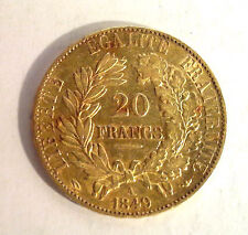 20 Francs Or CERES 2EME REPUBLIQUE - 1849 A PARIS DATE SERRÉE