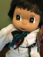 Vintage Mexican doll- Munecas Mexicanas doll with white outfit and sandals