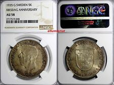 SWEDEN Silver 1935 5 Kronor NGC AU58 Toning 500th Anniversary of Riksdag KM# 806