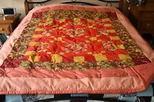 """Red & Gold Rectangles & Squares on Mellon Quilt , 58"""" x 79"""", Handmade, C08"""