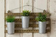Rustic wood Ruler Wall Hanger with 3 Tin Planters
