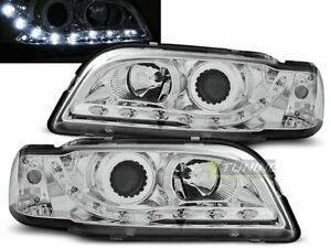 Pair of Headlights LED DRL Look for Volvo S40 V40 96-00 Daylight Chrome CA LPVO0