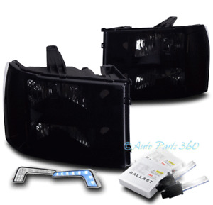 FOR 07-13 GMC SIERRA 1500 2500 3500 HD BLACK/SMOKE HEADLIGHTS W/BLUE DRL LED+HID