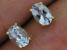 Classic GENUINE 9K 9ct Yellow Gold NATURAL Aquamarine Oval Stud Earrings 6x4mm
