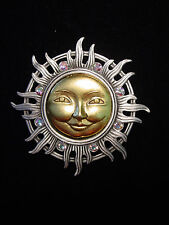 """""""JJ"""" Jonette Jewelry Silver Pewter 'Gold Faced SUN w/Jeweled Rays' Pin"""