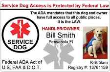 CUSTOM SERVICE DOG / PET ID CARD BADGE ID FOR SERVICE ANIMAL PROFESSIONAL PVC 21