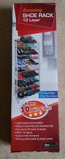 AMAZING 30 PAIR DURABLE WHITE 10 TIER SHOE STORER STAND RACK BY HOME & GARDEN