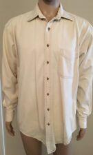 7ca4e753 VTG LL Bean Long Sleeve Polo Shirt Beige Heavy Cloth Men's Large Tall LT