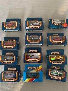 Matchbox 12 Boxed Cars - Audi Quattro,VW Golf GTI, Volvo 480ES,Mercedes 300E etc