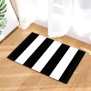 "Black & White Grunge Stripe Bathroom Rug Non-Slip Floor Door Mat Flannel 16x24"""