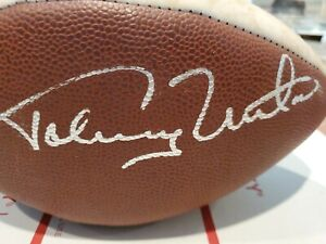Johnny Unitas Signed Football. BEAUTIFUL COLTS PANEL BALL. SIGNED BY THE GREAT 1