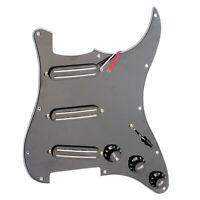 3 Ply 11 Hole Loaded Pickguard & Dual Rail Pickup Set for Guitar Parts Black