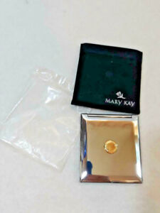Mary Kay Makeup Mirror Compact Silver with Gold w/ Velvet Case ~ Ships FREE