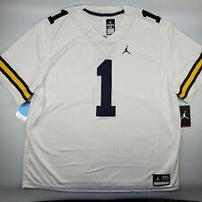 Michigan Wolverines Jordan Limited Football Jersey #1 Stitched White Nike