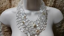 Anthropologie New Crystal Clear and Goldtone Layered Bead Lucite/Resin Necklace