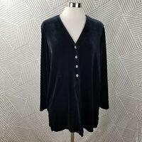 Lands End Velvet Tunic Shirt size Medium 10-12 Jacket Stretch Button Up Romantic