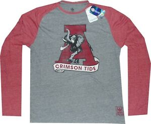 Alabama Crimson Tide Adidas Raglan Long Sleeve Throwback T Shirt $35 Clearance