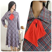 Vintage 70s Grey Red Checked Bow Textured Shift Dress 14 16 42 44