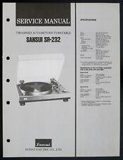 Sansui sr-232 original 2-Speed auto-return turntable Service-manual o153