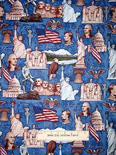 Patriotic Mount Rushmore Lincoln Liberty Blue Cotton Fabric RJR Pride Glory YARD