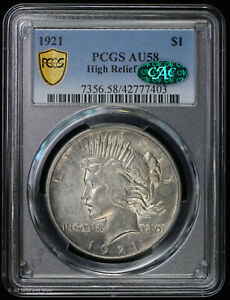 1921 Peace Silver Dollar High Relief PCGS AU 58 CAC